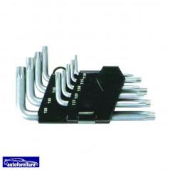 Serie chiavi maschio TORX corte 9 pz.