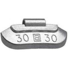 Contrappesi in Zinco plasticati per equilibratura ruote in ferro vetture gr.30
