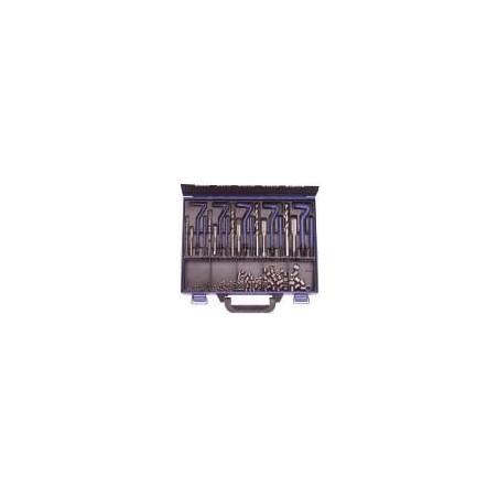 Kit di riparazione filetti helicoil multidimensionale (M5-M6-M8-M10-M12) composto da maschio, punta, posatore e filetti